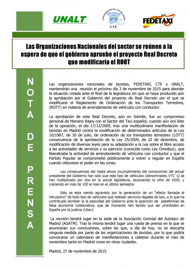 NOTA DE PRENSA ROOT 27.10.15